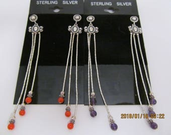 Sterling, silver, coral, amethyst, post earrings, dangles, beaded, vintage