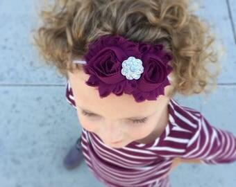Eggplant Headband- Burgundy Headband, Maroon Headband, Fall headband, Winter headband, toddler headband, Birthday headband,