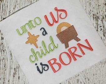 Christmas Embroidery Saying - Holiday Embroidery - Religious Embroidery - Christmas Embroidery - embroidery design