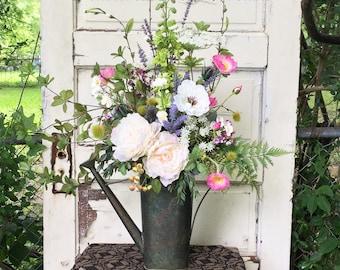 Summer Floral Arrangement, Pitcher Arrangement, Watering Can, Summer Silk Arrangement, Cottage Chic, Farmhouse Decor, Table Arrangement