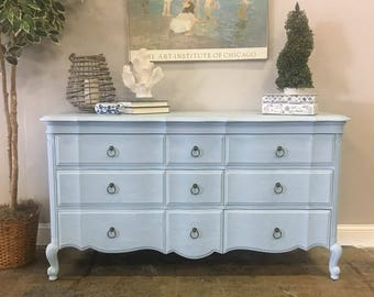 AVAILABLE: Light Blue Painted Dresser
