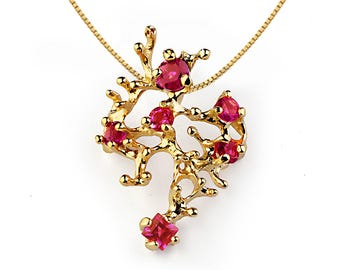 CORAL Reef Gold Ruby Necklace, Yellow Gold Necklace, Ruby Pendant, Mothers Day, Gift for Mom, Unique Gold Necklace, Gift for her