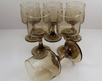 Vintage Libbey Wine Glasses Tawny Accent Set of 6