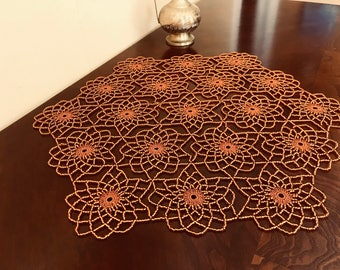 Handmade Copper Crochet Beaded Doily