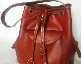 Sale- Leather Tribal Shoulder Bag - Brown Leather Drawstring Bucket  Bag - Large -  Handmade