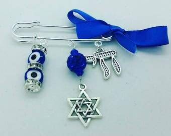 Jewish evil eye pin, stroller pin, blue jewish stroller pin, chai pin, bris gift, baby shower gift, baby boy pin, baby brooch, evil eye baby