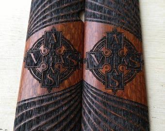 1911 Grips Aequitas Veritas Cross Boondock Saints  Leopard Wood Fits Colt, Kimber, Rock Island