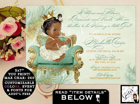 Mint Green BABY SHOWER, princess baby shower invitation, African American Baby Girl, ribbons and bows, diamonds and pearls, 7x5 PRINTABLE.