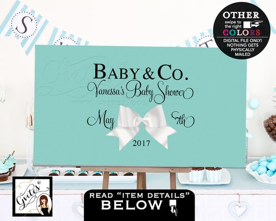 Twin and Co BABY Shower blue themed TABLE backdrops banners poster signs, white bow decorations, PRINTABLE. Centerpiece dessert cake table.
