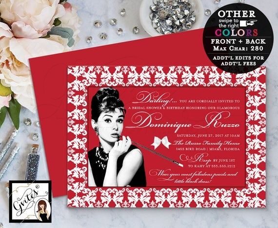 Audrey Hepburn custom invitations, breakfast bridal shower and birthday party invitation, double sided, red and white, 5x7. PRINTABLE