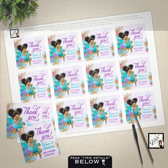 "Thank you baby shower tags, PERSONALIZED stickers, toppers, teal purple gold, african american girl princess.PRINTABLE  2x2"" 12/Per Sheet."