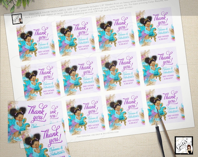 "Thank you baby shower tags, stickers, toppers, turquoise purple gold, african american girl princess. 2x2"" 12/Per Sheet.  #TIAAPC001"