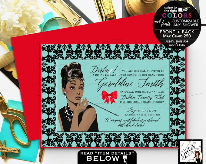 Breakfast at Tiffany's Bridal Shower Invitation, Printable Audrey Hepburn invitations Audrey party themed, wedding shower.