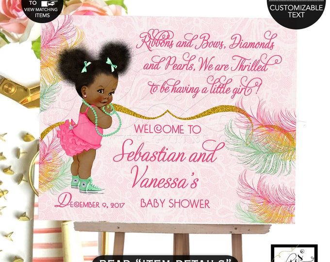 Welcome baby shower sign, pink and mint baby banner, African American baby girl baby shower sign, poster gold and pink. DIGITAL FILE!