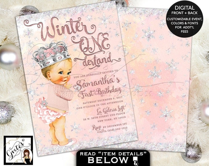 Winter onederland invitations, wonderland first birthday vintage baby girl, watercolor glitter snowflake princess digital, 5x7 double sided.