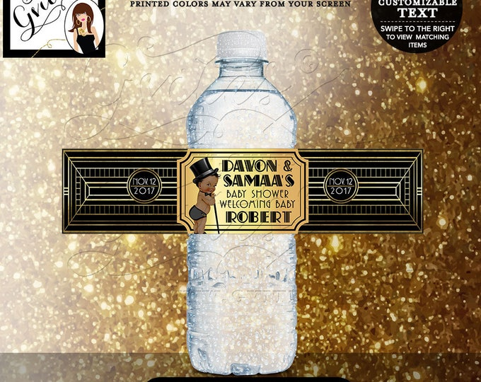 "Gatsby themed baby shower water labels, 1920s black and gold water bottle label, sticker, decorations, BOY. DIGITAL FILE 8x2""/5 Per Sheet."