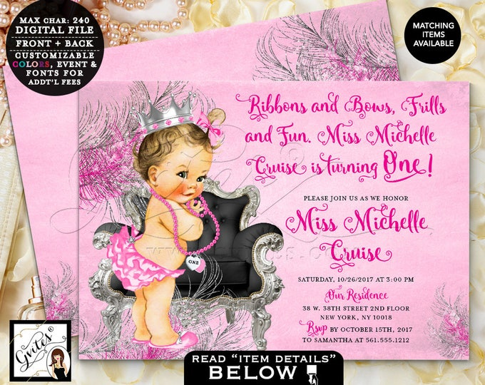 Pink and Silver First Birthday Invitation, princess baby 1st pink silver black vintage invites, 7x5 Double Sided. DIGITAL PRINTABLE