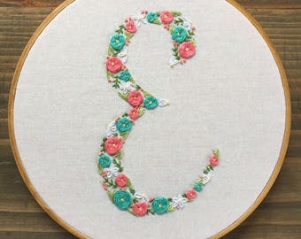 Custom letter/initial Hoops - Hand Embroidered