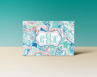 Sea Shell Monogrammed Note Card Box Set of 12 note cards and envelopes, Thank you cards, Note Card Set, Stationary, Greeting Cards