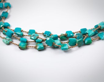 Turquoise Necklace, Turquoise Beaded Necklace, Long Turquoise Layering Necklace, Beaded Layering Necklace, Long Necklace
