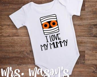I Love My Mummy Bodysuit - I Love My Mummy Onesie- Halloween Onesie- Halloween Bodysuit- Mummy Bodysuit- Baby's First Halloween