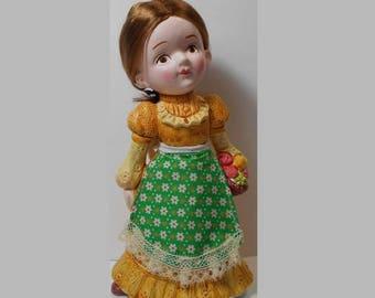 ON SALE New Old Stock Retro Ceramic Brunette Girl Doll Bank