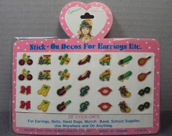 ON SALE New Old Stock 1991 Expressions Novelty Sticker Earrings Stick On Decos