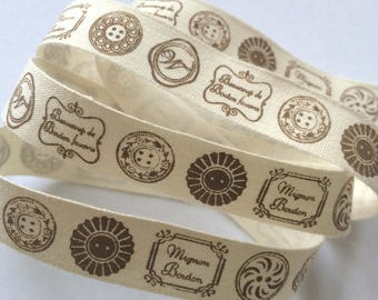 decorative Ribbon: Brown buttons on an ecru background