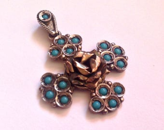 Vintage Turquoise Sterling Silver Gold Rose Heart Maltese Cross  from Rhodes Greece