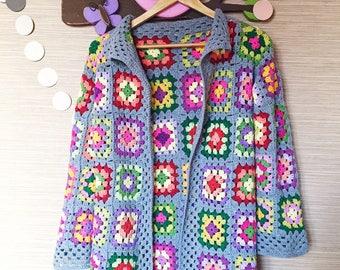 Eva's  Doodlings Crocheted Granny Square Cardigan