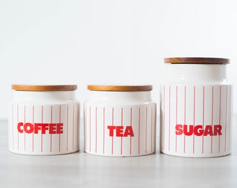Vintage Canister Set / coffee, tea, sugar canisters / Diner Style Red and White Stripes Kitchen Jar Storage Containers