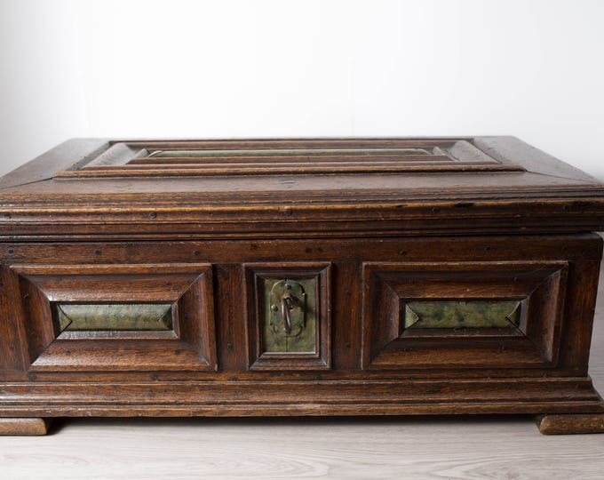 Antique Wood Chest / Hand Carved European Primitive Rustic Wood Storage Trunk with Original Key