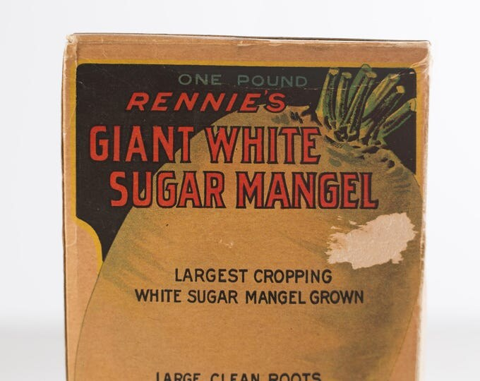 Rennie's Leviathan One Pound Largest Cropping Giant White Sugar Mangel Seeds from 1948 / Box of Antique Toronto Farmer's Organic Vegetable