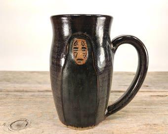 No-Face Studio Ghibli Mug - 16 oz Dark Iron - Wheel Thrown Hand Carved Studio Ghibli Coffee Cup