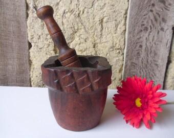 Wood pestle and mortar , Wood pestle mortar , Vintage pestle mortar , Turned wood mortar , Carved wood mortar