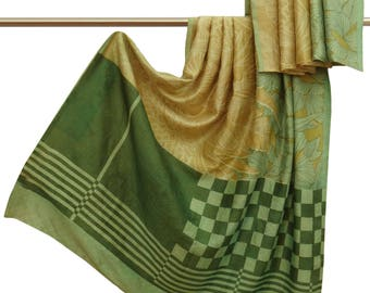 Free Shipping Indian Vintage Sari Floral Printed Polyester Beige Dress Making Craft Fabric Saree 5YD A15590