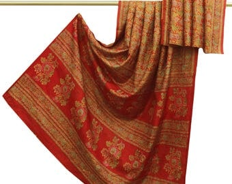 Free Shipping Vintage Indian 100% Pure Silk Saree Orange Floral Printed Sari Craft Fabric Used Saree 5 YD PS48784