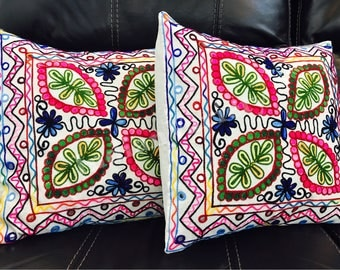 Indian Hand Embroidery Cushion Cover,Rajasthani,Jaipuri,Cotton Cushion Cover,foil,Kutch,MultiColor,Indian Embroidery,Vintage,Bohemain,pillow