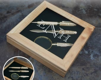 Witness Personalized Gift Set with Pen, Letter Opener, & Magnifying Glass in Presentation Box Engraved with Design and Font Selection (Each)