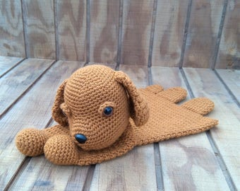 Crochet Honey Puppy Ragdoll Lovey Security Blanket - READY TO SHIP
