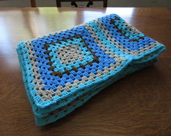 Excellent Vintage Crochet Blanket/Throw. Blue, Gray, Brown. Lap, Chair, Granny Square Afghan. Boys, Mens Gift, Masculine Colors, Man's Throw