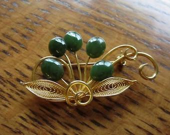 Vintage Brooch, Art Deco Brooch, Flower Spray, Gold, Green, Filigree, Art Deco Jewelry, Floral Brooch, Gold & Green Jewelry, Art Deco Design
