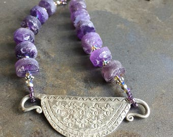 37 - Amethyst and Thai sterling silver necklace