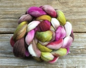 SW Merino Nylon Roving Hand Dyed for Spinning Magnolia Fuchsia White Spring Blossom Pink Red Brown Green