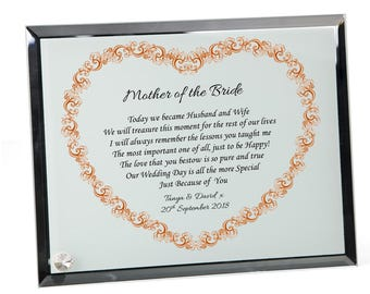 Mother of the Bride/Groom Personalised Wedding Poem Glass Plaque