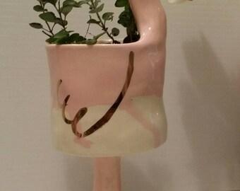 Pink Ceramic Flamingo Planter Ships / indoor planter / succulent planter/