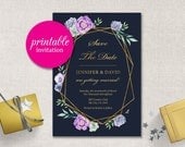 Geometric Save the Date Printable floral Wedding Save the Date card Navy wedding invitation Modern navy purple succulent save the date