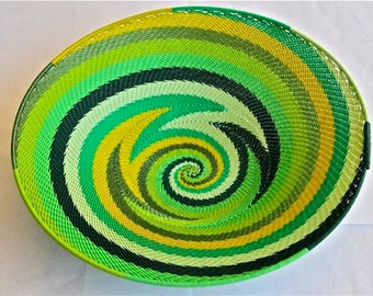 African Telephone Wire Bowl -  GREEN - Yellow and Black swirl