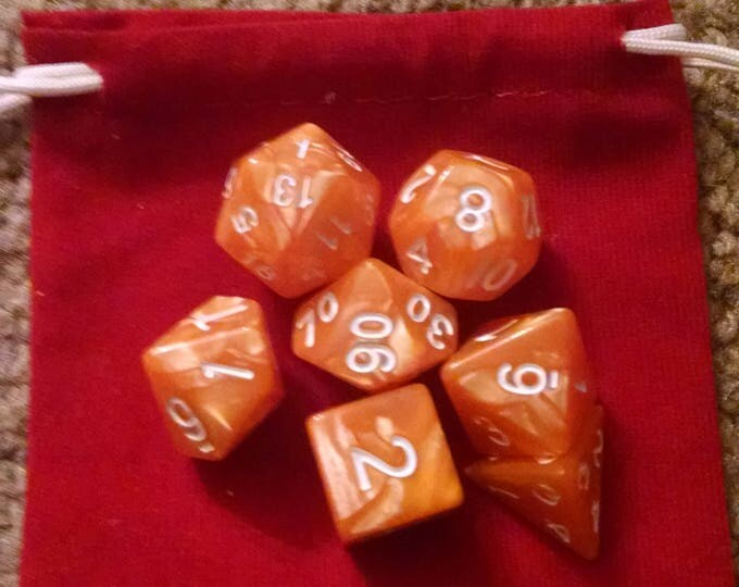 Creamsicle - 7 Die Polyhedral Set with Pouch