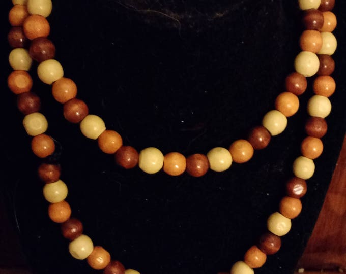 Wooden Bracelet and Necklace Set polished wood beads